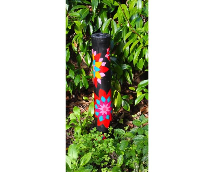 Bamboo GeoFlowers 2011 3x15 acrylic on bamboo (weather resistant)