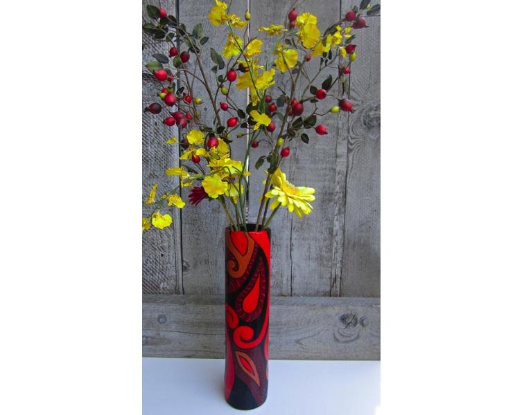 Bamboo Polynesia 2012 acrylic on bamboo (vase) SOLD