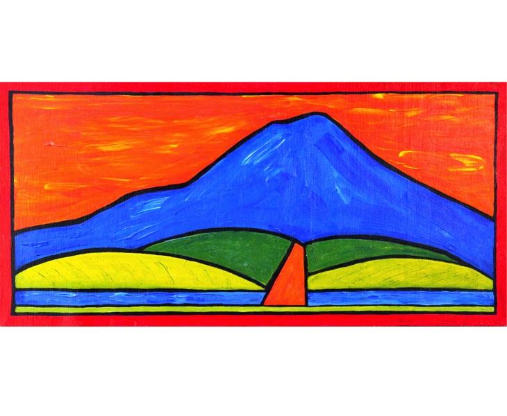 Blue Mt. Tam, Orange Bike Path 2011 12x24 acrylic on wood