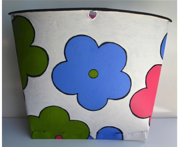 Bouquet Bucket 2012 acrylic on vintage metal Canadian sap bucket (back view)
