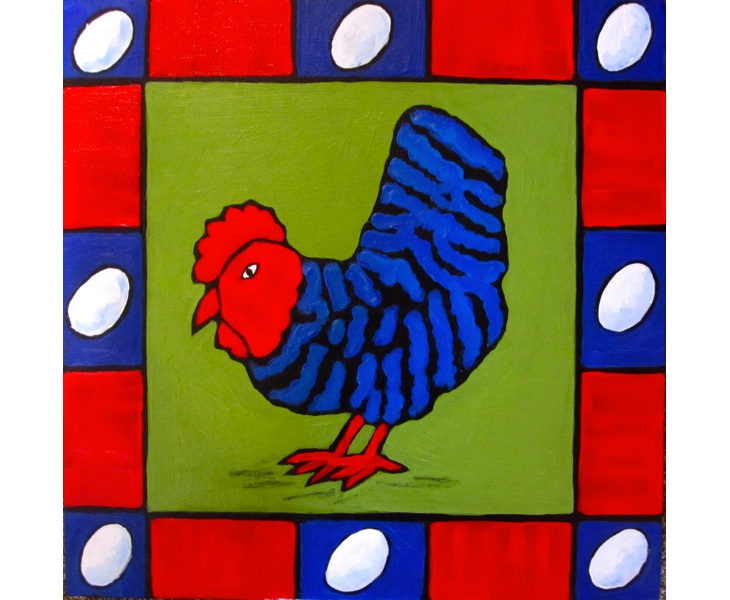 Cheeky Blue Chicken 2011 5x7 blank card