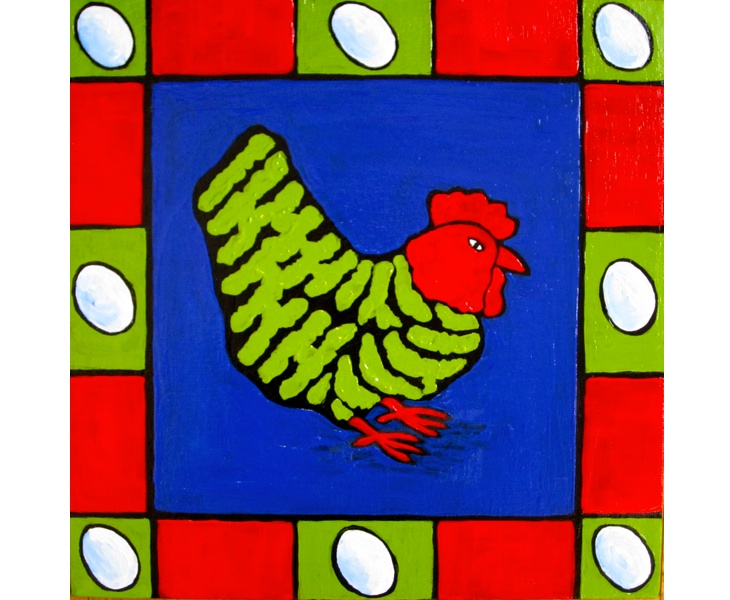 Cheeky Green Chook 2011 12x12 acrylic on canvas SOLD