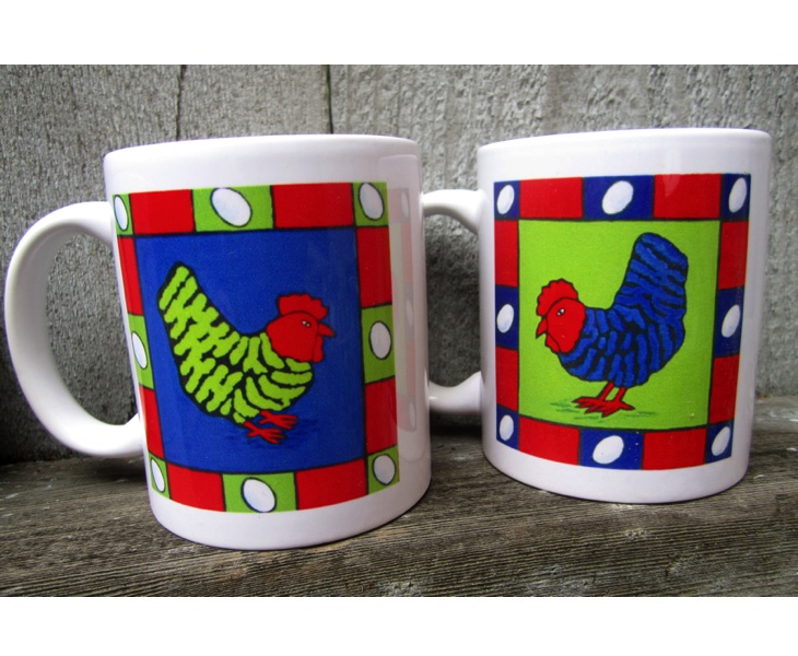 Blue and Green Cheeky Chook Mugs (11 ounces)