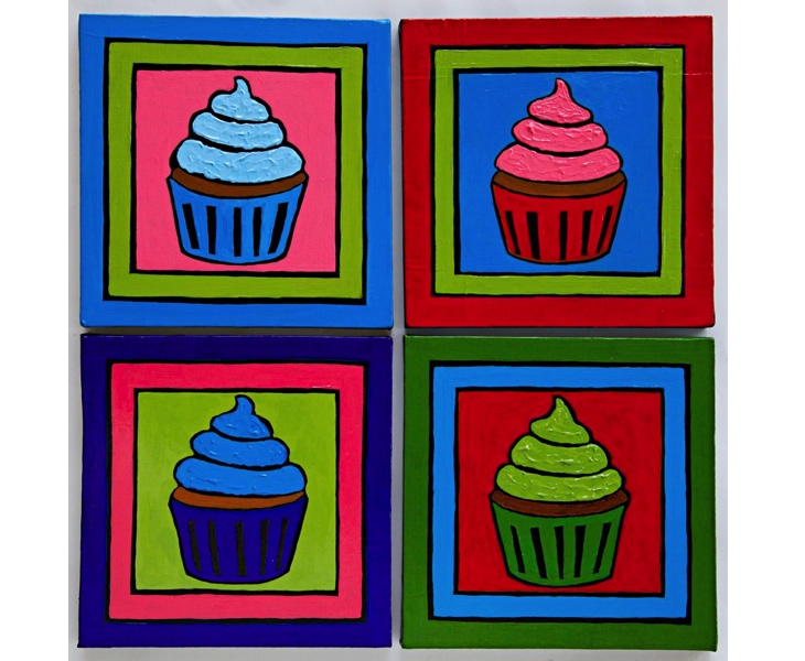 Cupcake Love 2011 Four 8x8 Panels acrylic on canvas SOLD