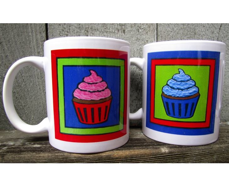 Red and Blue Cupcake Mugs (11 ounces)