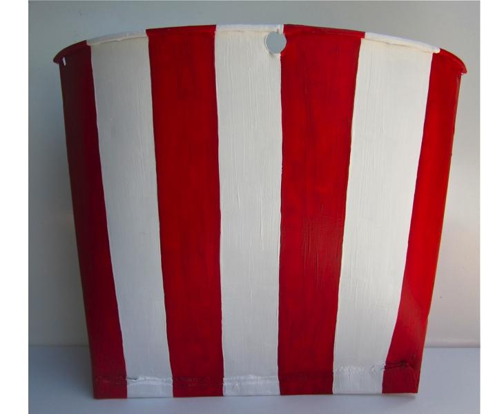 Flag Bucket 2012 acrylic on vintage metal Canadian sap bucket (back view)