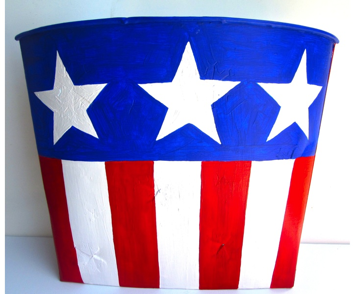 Flag Bucket 2012 acrylic on vintage metal Canadian sap bucket (front view)