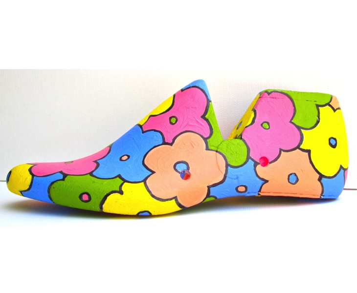 Flower Patch 1 2012 acrylic on antique wooden shoe last (left view ) SOLD
