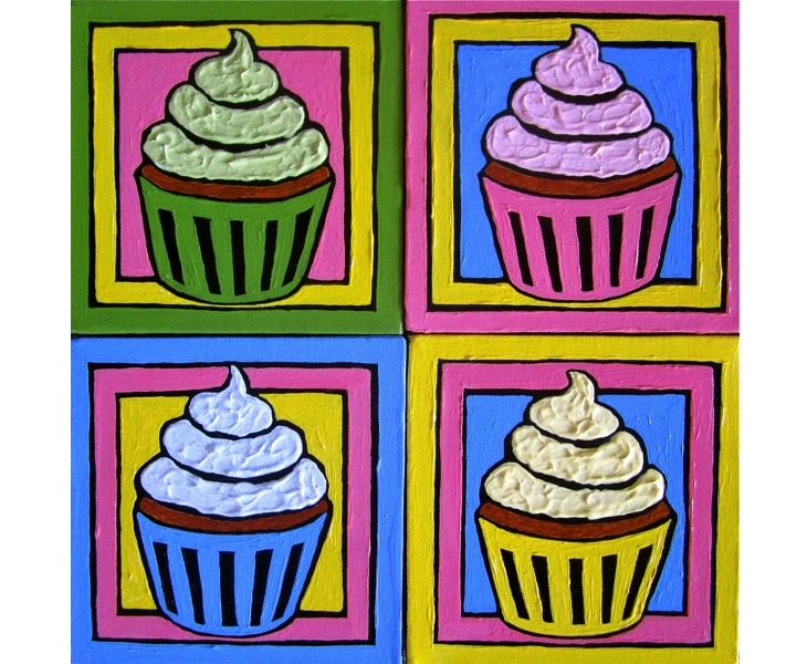 Four Icy Cupcakes 2011 Four 6x6 Panels acrylic on canvas SOLD