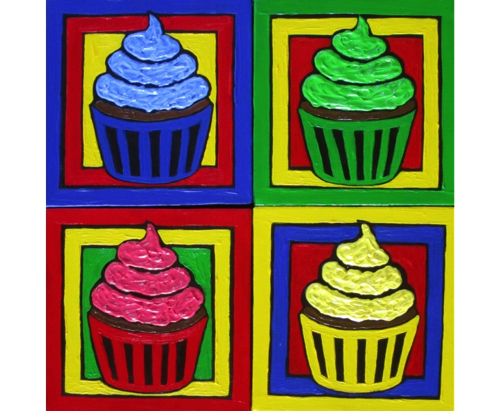 Four Jewel-Tone Cupcakes 2011 Four 6x6 Panels acrylic on canvas SOLD