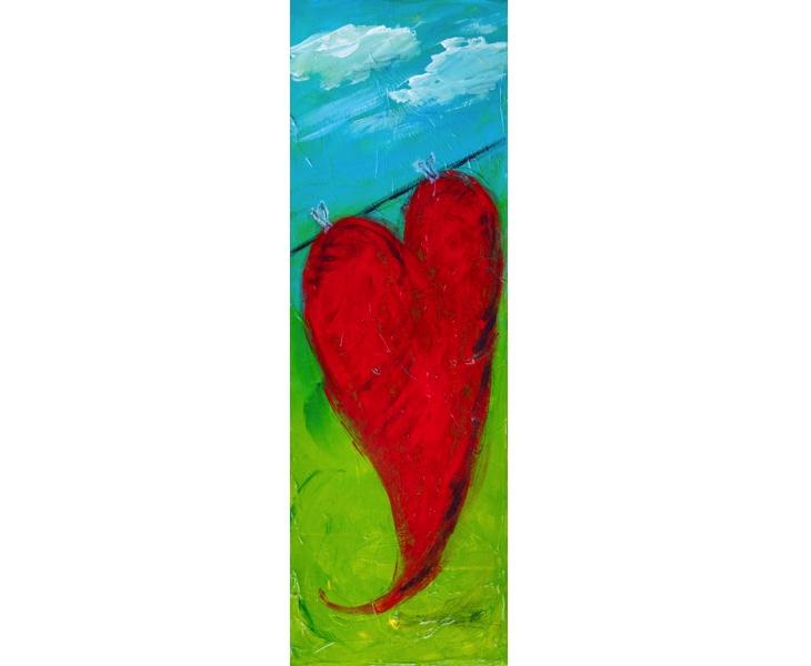 Heart On a Line 2011 8x24 acrylic and Char-Kol on canvas
