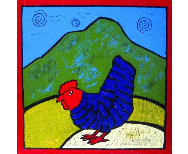Marin Chick 2011 12x12 acrylic on wood SOLD