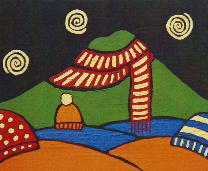 Mt. Tam and Winter Hats 2011 5x7 blank card