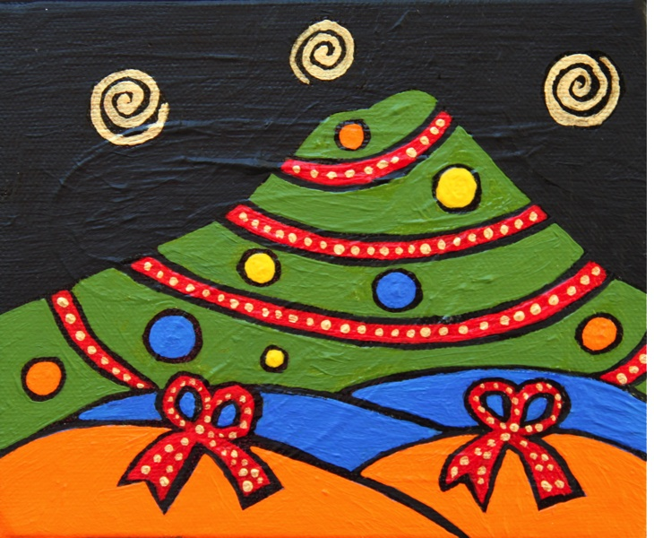 Mt. Tam for the Holidays 2011 5x6 acrylic on canvas