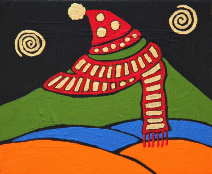 Mt. Tam with Hat and Scarf 2011 5x6 acrylic on canvas