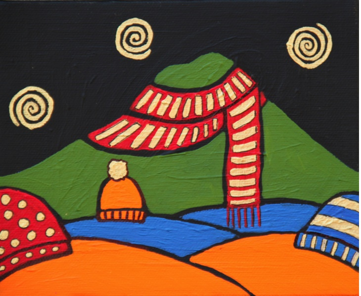 Mt. Tam with Winter Hats 2011 5x6 acrylic on canvas