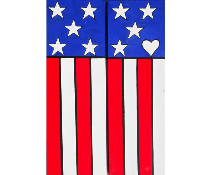 My Lovely American Flag  2012 16x24 (two 8x24 panels) acrylic on canvas