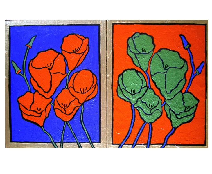 Orange and Green Poppies 2011 16x10 (two panels) acrylic on canvas