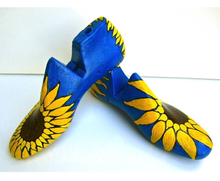 Pair of Sunflowers 2012 acrylic on antique wooden shoe lasts