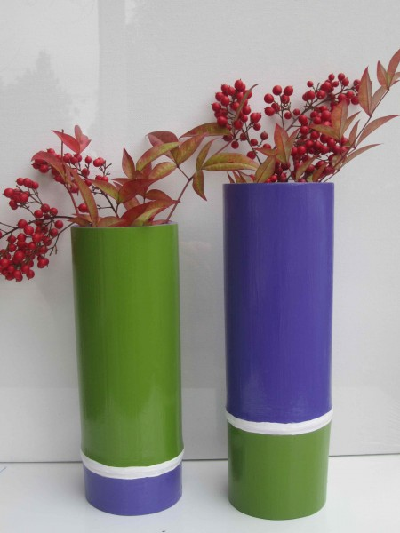 Purple & Green Tall Vessels 2013 acrylic and varnish on bamboo