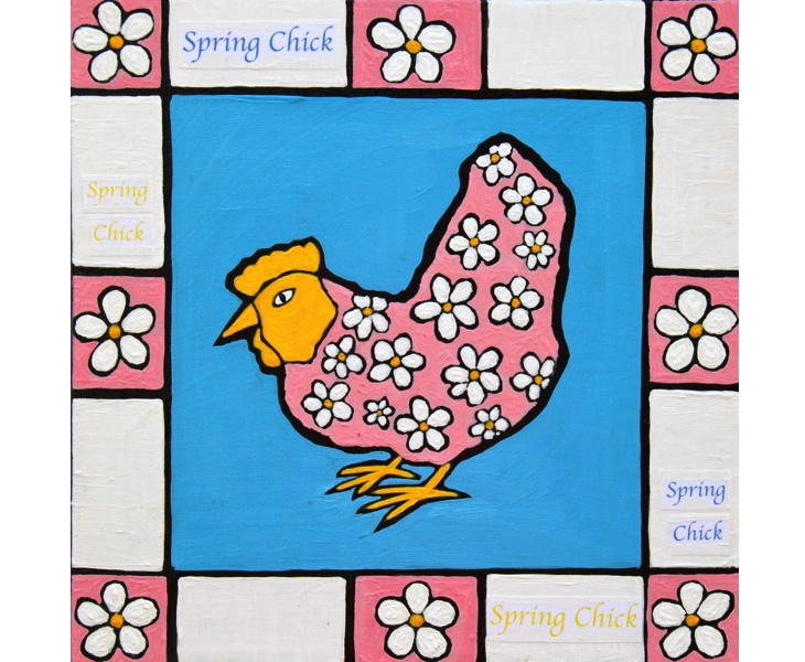 Spring Chick 2011 12x12 acrylic on canvas