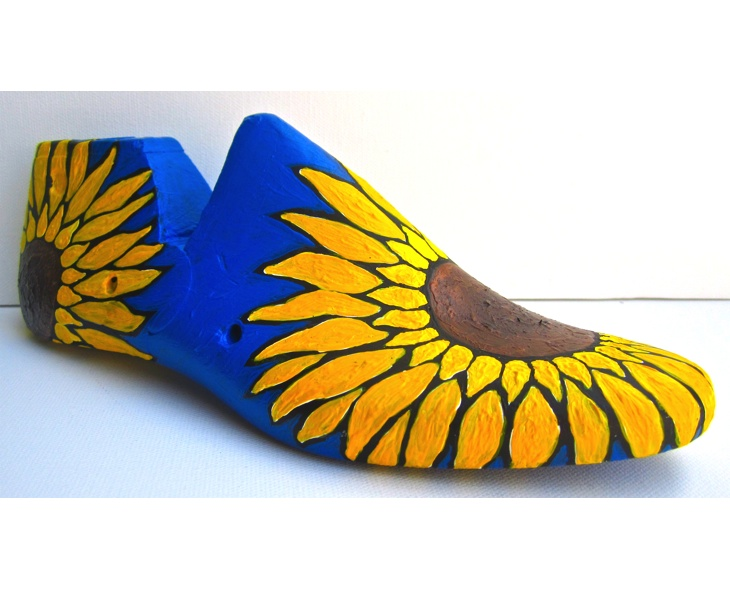 Sunflower 1 2012 acrylic on antique wooden shoe last (right view )