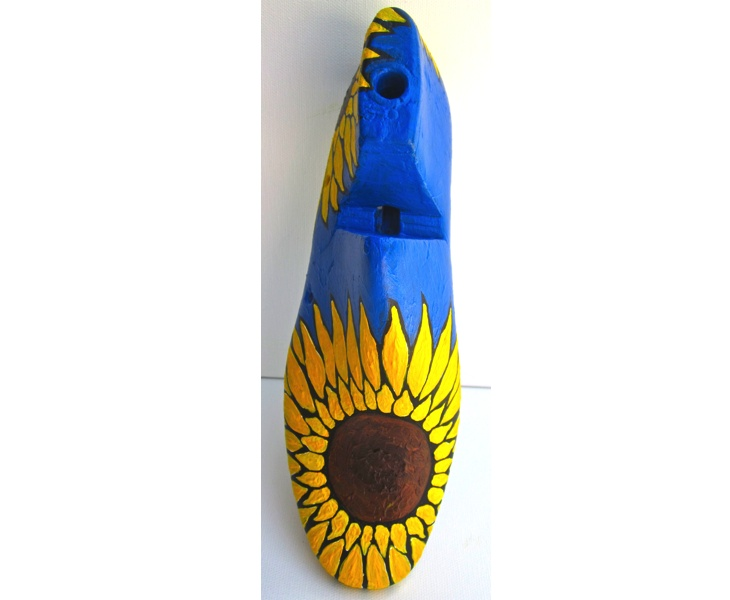 Sunflower 1 2012 acrylic on antique wooden shoe last (top view )