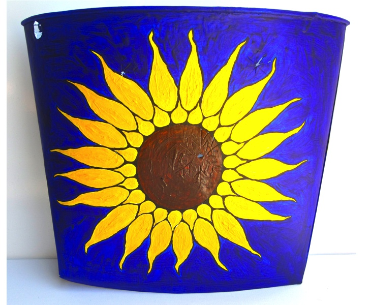 Sunflower Bucket 2012 acrylic on vintage metal Canadian sap bucket (front view)