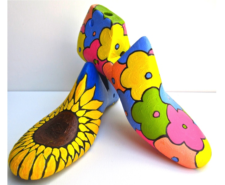 Sunflower 1 & Flower Patch 1 2012 acrylic on antique wooden shoe lasts