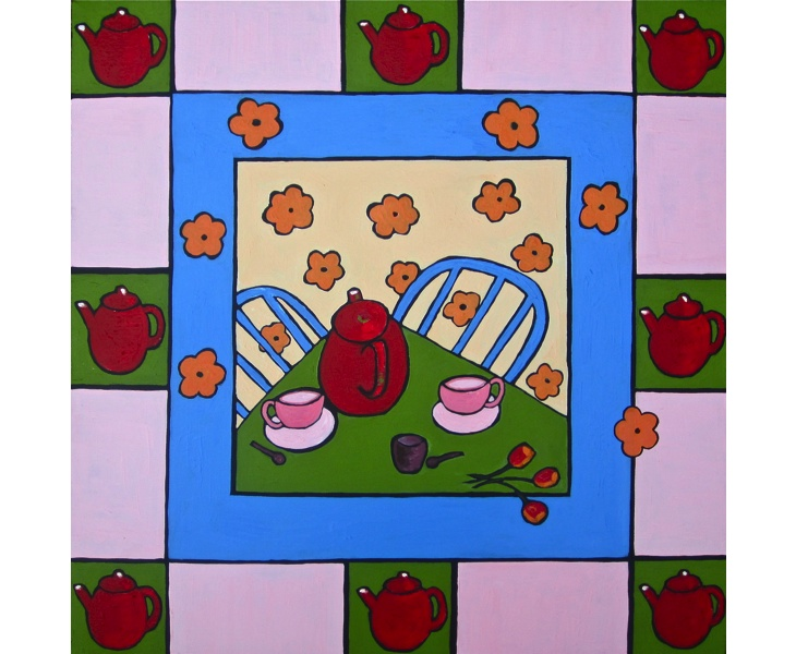 Tea for Two 2012 20x20 acrylic on canvas