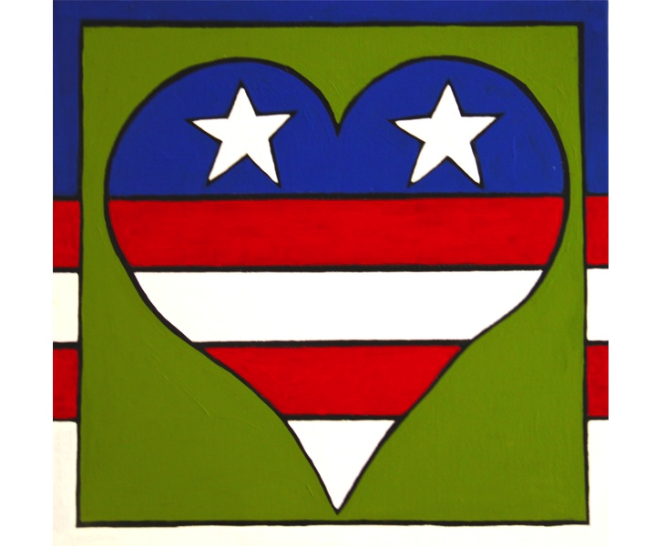 Red, White, and Blue Heart 2012 12x12 acrylic on canvas SOLD