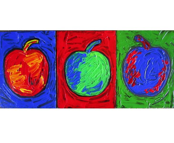 Three Apples 2011 Three 6x8 Panels acrylic on canvas SOLD