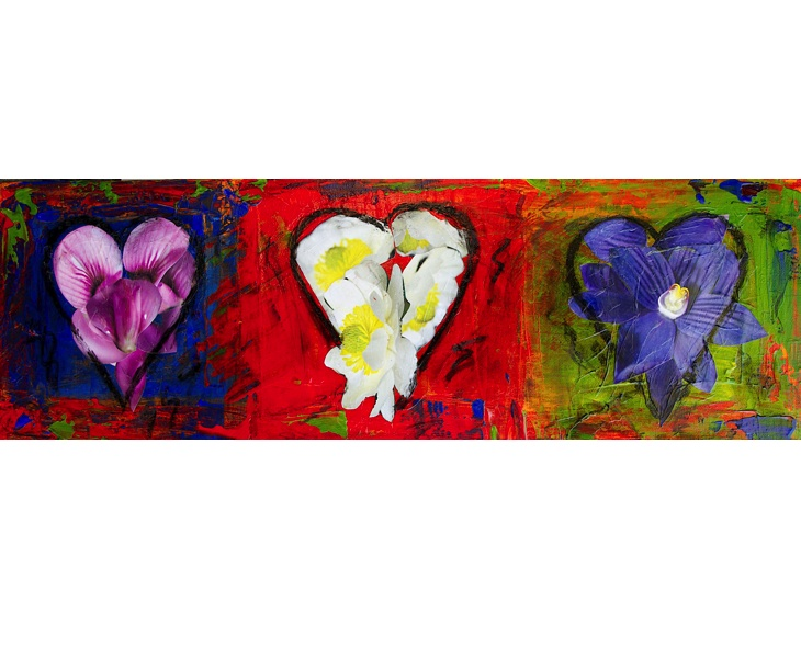 Three Sweet Hearts 2011 8x24 acrylic & mixed media on canvas SOLD