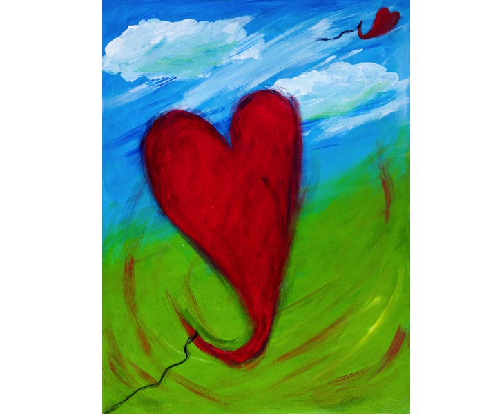 Easy Breezy Hearts 2011 18x24 acrylic and ink on canvas SOLD