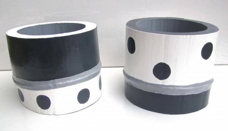 Grey & White Polka Dot Bamboo Vessels 2013 acrylic & varnish on bamboo