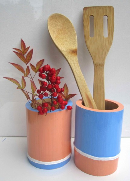 Light Blue & Peach Bamboo Vessels 2013 acrylic & varnish on bamboo SOLD