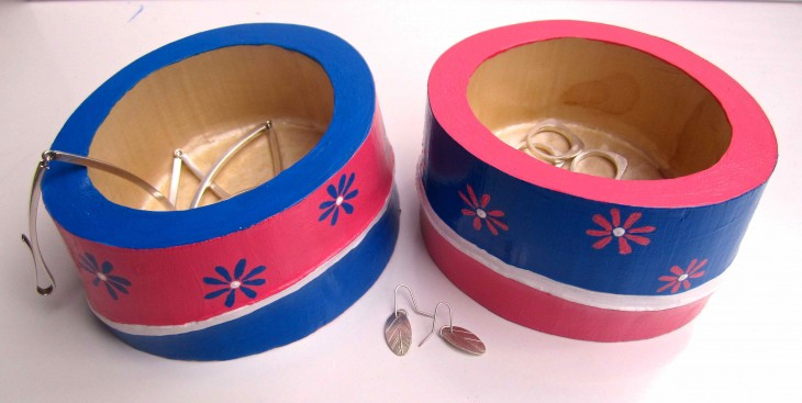 Pink & Blue Flower Bamboo Vessels 2013 acrylic & varnish on bamboo SOLD