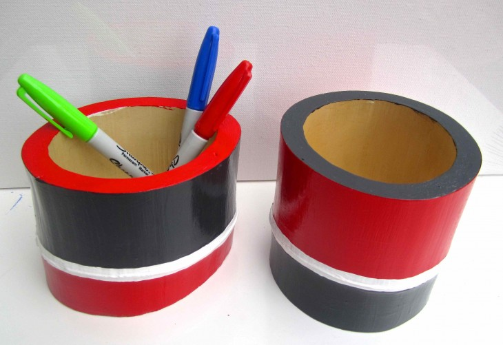 Red & Gray Bamboo Vessels 2013 acrylic & varnish on bamboo SOLD