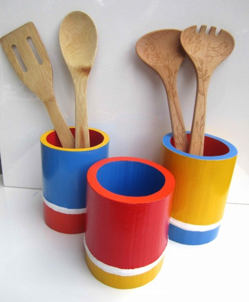 Bold Colored Bamboo Vessels 2013 acrylic & varnish on bamboo SOLD