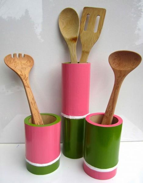 Pink & Green Bamboo Vessels 2013 acrylic & varnish on bamboo