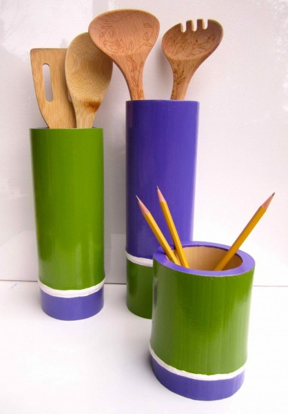 Purple & Green Bamboo Vessels 2013 acrylic and varnish on bamboo