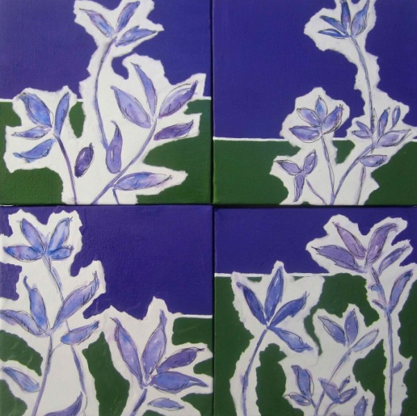 Wild Flowers in Violet 2013 6x6 watercolor, ink, and acrylic on canvas (four panels) SOLD