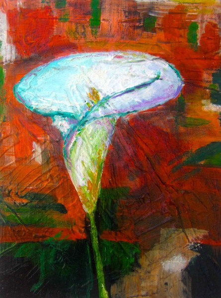 Sunburst Lily 2013 10x12 acrylic and oil pastel on canvas SOLD