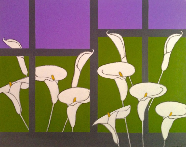 Garden of Lilies 1 2013 24x30 acrylic and charcoal on canvas