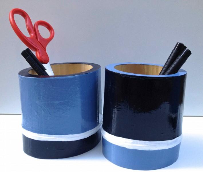 Shades of Grey Bamboo Vessels 2013 acrylic and varnish on bamboo
