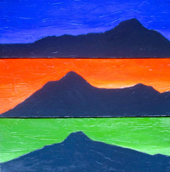 This Is Mt. Tam Triptych 2013 8x24 (three panels) acrylic on canvas