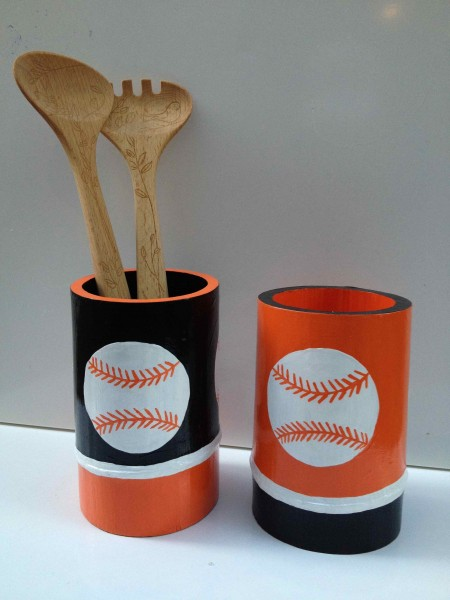 Let's Go, Giants! Bamboo Vessels 2013 acrylic and varnish on bamboo SOLD