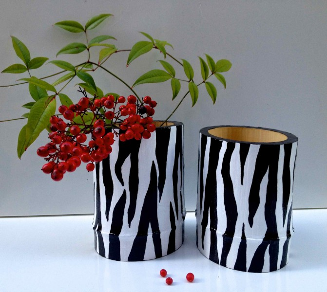 Zebra Stripe Bamboo Vessels 2013 acrylic and varnish on bamboo SOLD