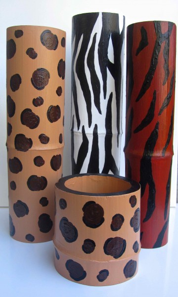 Four Animal Print Bamboo Vessels 2013
