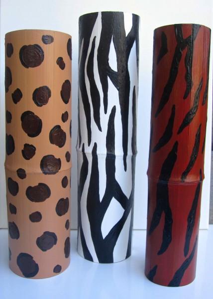 Three Tall Animal Print Bamboo Vessels 2013